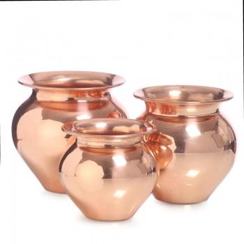 Традиционные медные горшочки (кумбха), комплект из трех штук