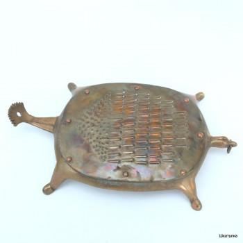 Терка для овощей старинная овальная из бронзы