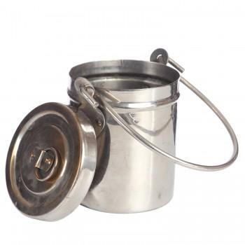 Старинная медная ёмкость для сыпучих продуктов и жидкостей с плотной крышкой с никелевым покрытием
