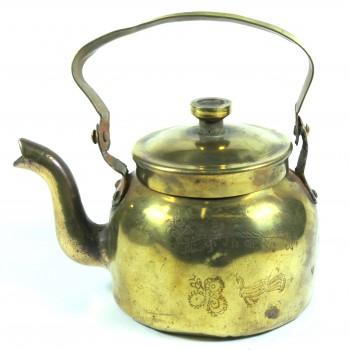 Чайник медный старый небольшой на 0,75 литра, винтаж 40-50 годы ХХ века.
