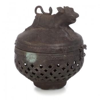 Ароматизатор для хамама. Старинная медная шкатулка для благовоний.